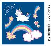 cute unicorn and rainbow...   Shutterstock .eps vector #700764463