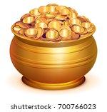 gold pot full of gold coins.... | Shutterstock . vector #700766023