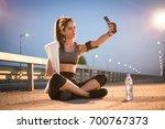 Sporty Girl Taking A Self...