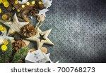 stylish rustic christmas... | Shutterstock . vector #700768273