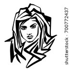 graphic sketch of a girl.... | Shutterstock .eps vector #700772437