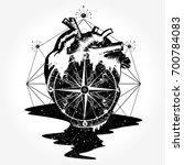 compass in the heart steampunk... | Shutterstock .eps vector #700784083