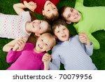 image of happy friends lying on ... | Shutterstock . vector #70079956