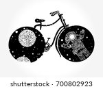 bicycle tattoo art. travel ... | Shutterstock .eps vector #700802923