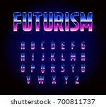 80s retro futurism sci fi font... | Shutterstock . vector #700811737