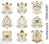 vintage decorative heraldic... | Shutterstock . vector #700816087
