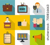 debate icons set. flat set of 9 ... | Shutterstock .eps vector #700816663