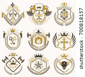 set of retro vintage insignias... | Shutterstock . vector #700818157