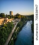 Small photo of view of the castle of Trezzo d'Adda and Adda River