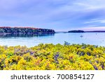 sunset in evening at boothbay... | Shutterstock . vector #700854127