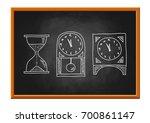 clock drawing on blackboard  | Shutterstock .eps vector #700861147
