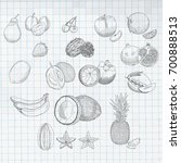 exotic fruits set mangosteen ...   Shutterstock .eps vector #700888513