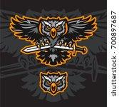 furious owl head mono sport... | Shutterstock .eps vector #700897687