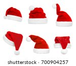 collage of santa's hats on... | Shutterstock . vector #700904257