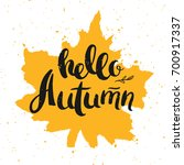 hello autumn lettering with... | Shutterstock .eps vector #700917337