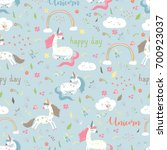 seamless pattern girl with... | Shutterstock .eps vector #700923037