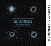 broken glass holes vector... | Shutterstock .eps vector #700925863