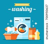 vector laundry washing... | Shutterstock .eps vector #700950637