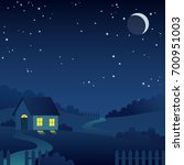 night country landscape with... | Shutterstock .eps vector #700951003