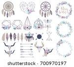 set of objects in bohemian... | Shutterstock .eps vector #700970197