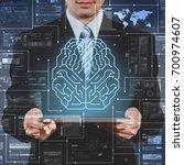 businessman using tablet... | Shutterstock . vector #700974607