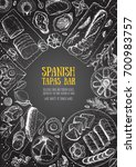 spanish cuisine top view frame. ... | Shutterstock .eps vector #700983757