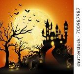 cartoon halloween background... | Shutterstock . vector #700987987