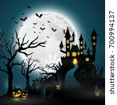 cartoon halloween background... | Shutterstock . vector #700994137
