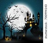 cartoon halloween background... | Shutterstock .eps vector #700994143