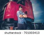 caucasian trucker in his 30s... | Shutterstock . vector #701003413