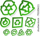 recycle stycker set. great... | Shutterstock .eps vector #70100611