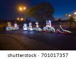 Small photo of August 23, 2017. alun-alun selatan or the southern square of Yogyakarta Indonesia, a vehicle with a color lamp wari yang.disewakan to visitors to enjoy the atmosphere of jogja at night