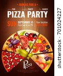party poster with slices of... | Shutterstock .eps vector #701024227