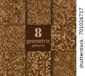set of eight seamless geometric ... | Shutterstock .eps vector #701026717
