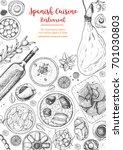 spanish cuisine top view frame. ... | Shutterstock .eps vector #701030803