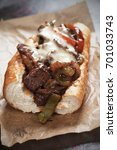 philly cheese steak sandwich... | Shutterstock . vector #701033743