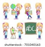 vector set of school girl... | Shutterstock .eps vector #701040163