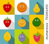 healthy fruit icons set. flat... | Shutterstock .eps vector #701041453