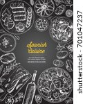 spanish cuisine top view frame. ...   Shutterstock .eps vector #701047237