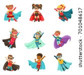 super kids set  boys and girls... | Shutterstock .eps vector #701048617
