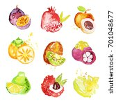 set of colorful watercolor... | Shutterstock .eps vector #701048677