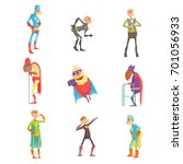 funny elderly superhero cartoon ... | Shutterstock .eps vector #701056933