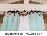 bride and bridesmaid dress... | Shutterstock . vector #701059537