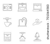 computer 3d printer icon set....