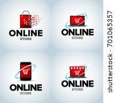 online shop  mobile shop ... | Shutterstock .eps vector #701065357