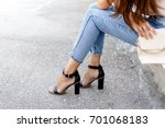 women's legs in blue cropped... | Shutterstock . vector #701068183