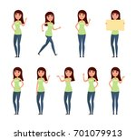 set of woman  girl in casual... | Shutterstock . vector #701079913