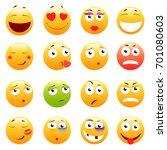 set of 3d cute emoticons. emoji ... | Shutterstock . vector #701080603