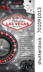 las vegas flyer in black  red... | Shutterstock .eps vector #701091013