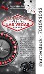 las vegas flyer in black  red... | Shutterstock .eps vector #701091013
